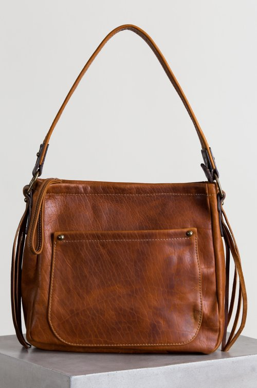 Santa Fe Bison Leather Shoulder Bag with Concealed Carry Pocket