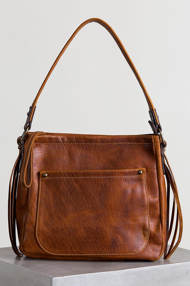 Santa Fe Bison Leather Shoulder Bag With Concealed Carry Pocket