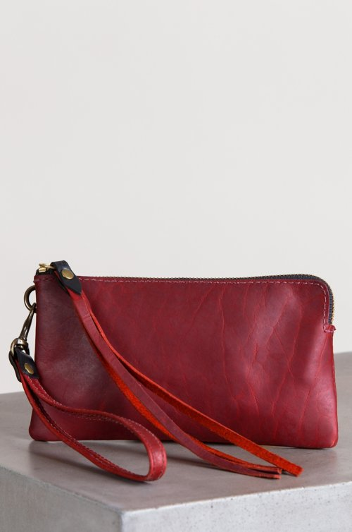 Santa Fe Bison Leather Wristlet Clutch Wallet