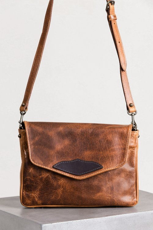 Santa Fe Bison Leather Crossbody Messenger Bag with Concealed Carry Pocket