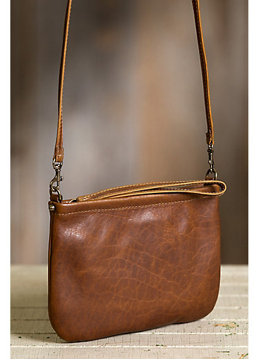 Santa Fe Bison Leather Crossbody Clutch
