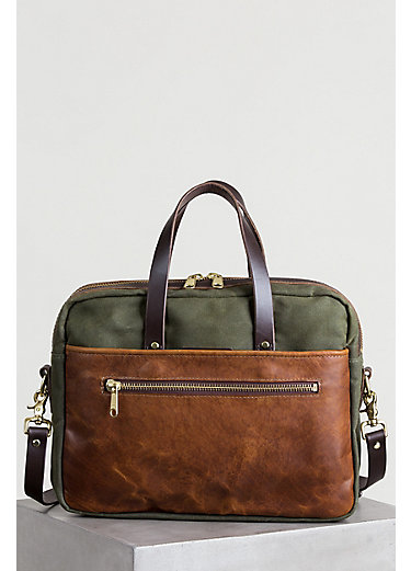 Heritage Canvas and American Bison Leather Briefcase