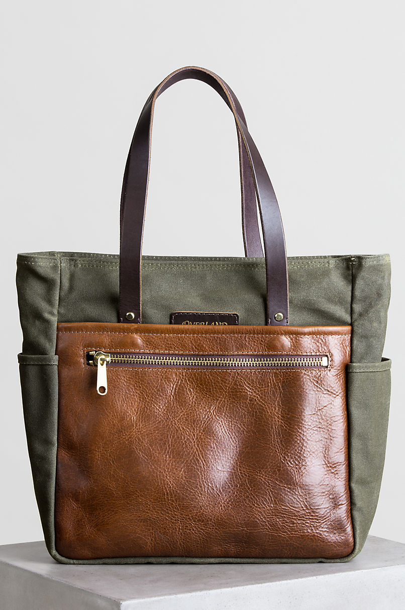 Heritage Canvas and American Bison Leather Tote Bag