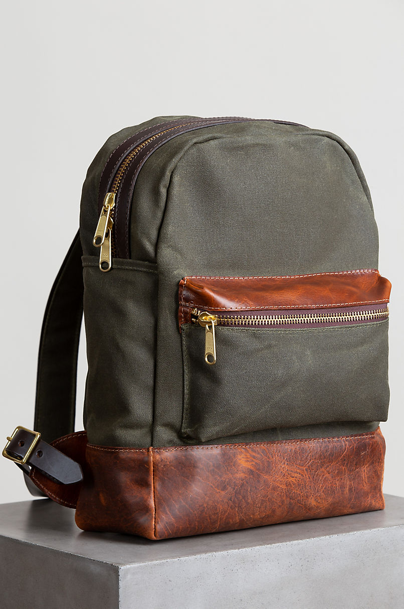Heritage Canvas and American Bison Leather Backpack