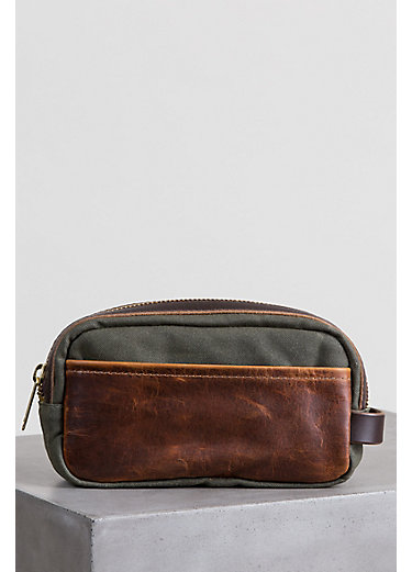 Heritage Canvas and American Bison Leather Travel Kit