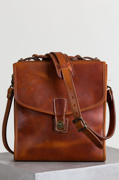 Americana Horween Leather Messenger Bag with Concealed Carry Pocket