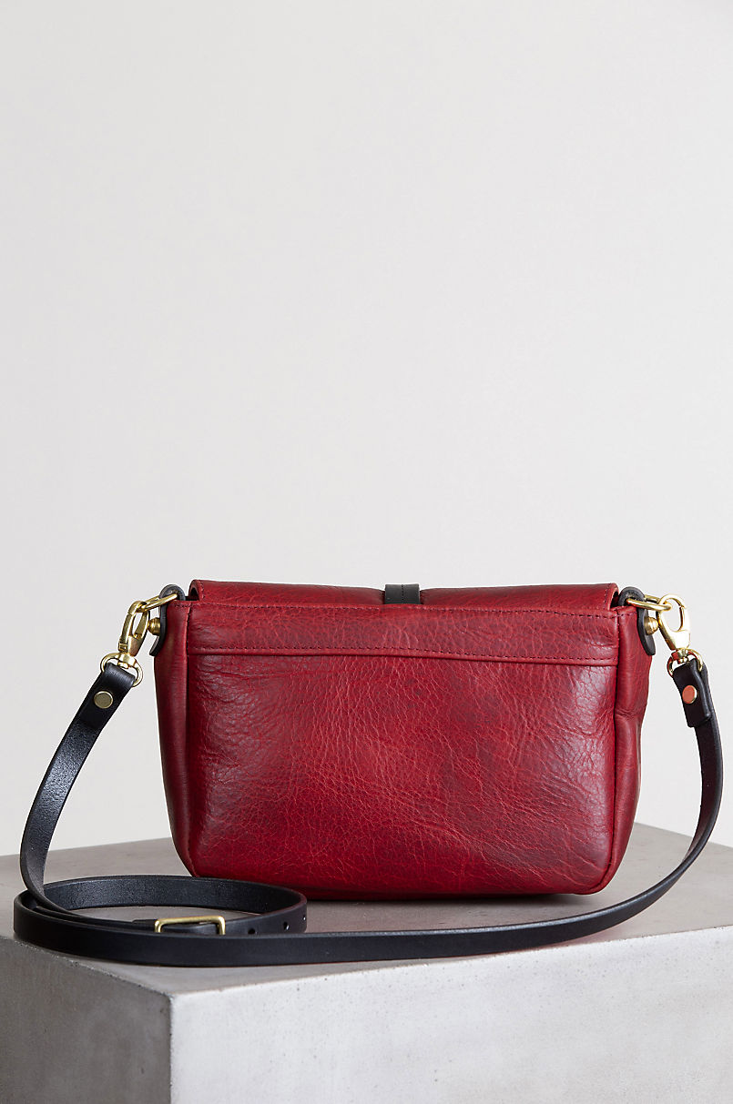 Santa Fe Bison Leather Two-Tone Crossbody Clutch