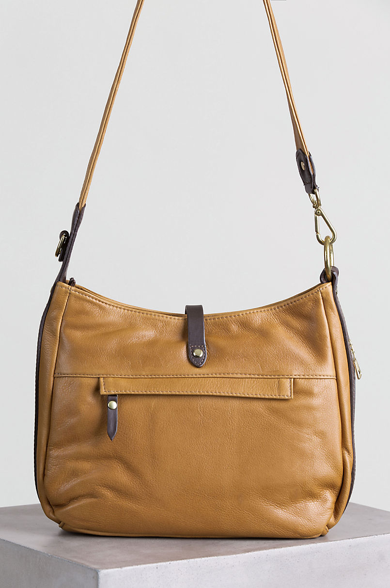 Anne Two-Tone Leather Shoulder Bag with Concealed Carry Pocket