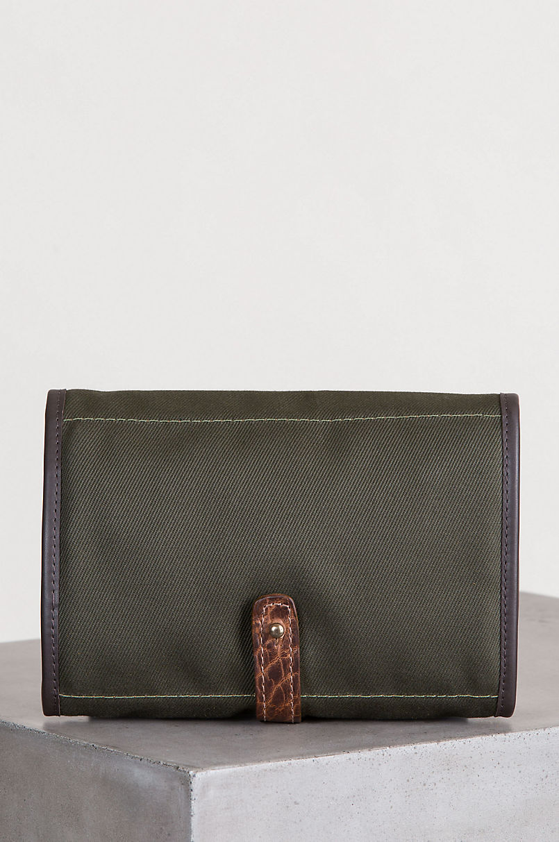 Heritage Canvas and American Bison Leather Roll Travel Kit