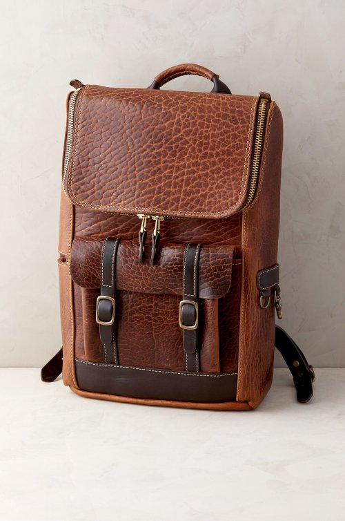 Legacy American Bison Leather Backpack with Concealed Carry Pocket