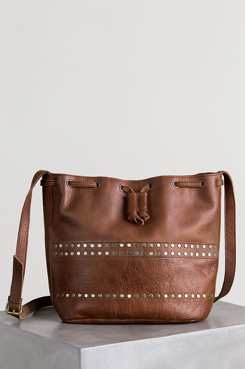 Salem Studded Leather Crossbody Shoulder Bag