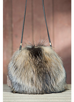 Canadian Fox Fur Muff Crossbody Handbag