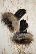 Women's Lambskin Leather Gloves with Fox Fur Trim