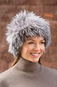Knitted Silver Fox Fur Beanie Hat