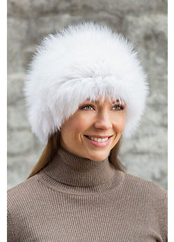 Knitted Silver Fox Fur Hat