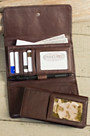Leather Wallet with Removable Checkbook and RFID Protection