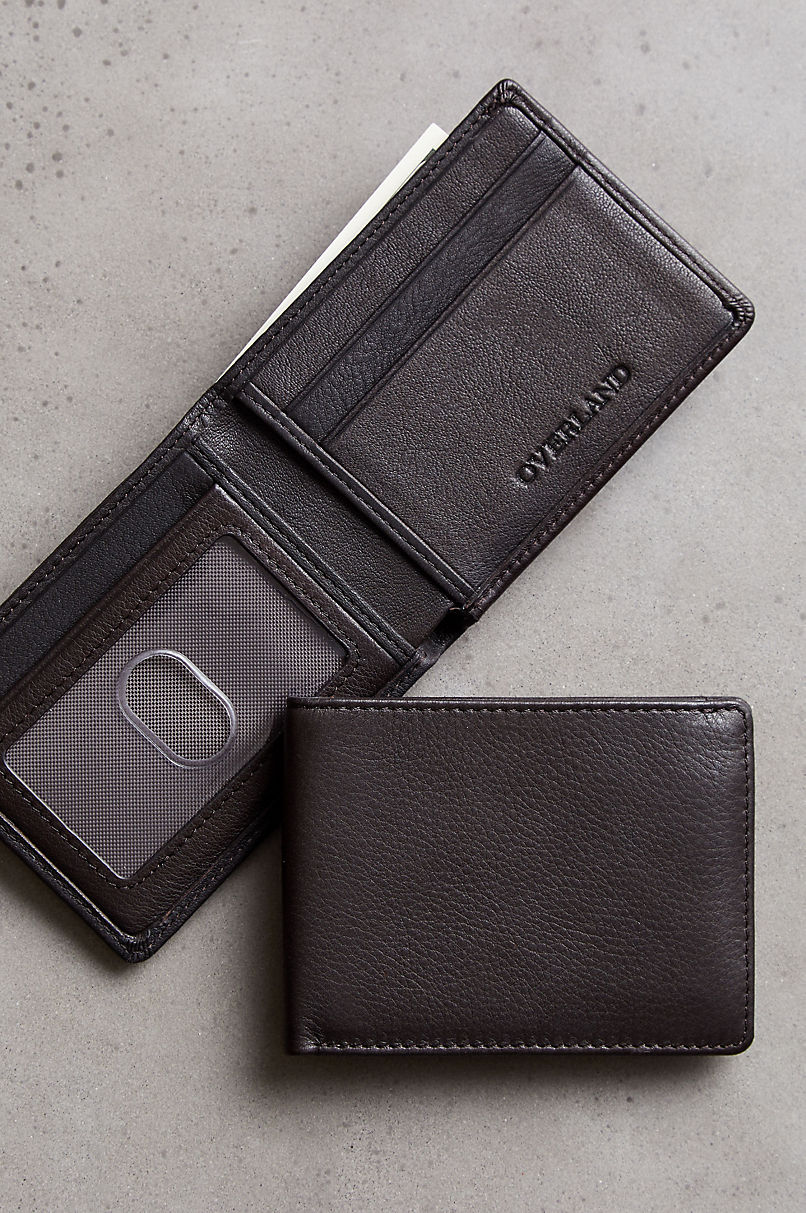 Ultra Mini Leather Billfold Wallet with ID Window and RFID Protection