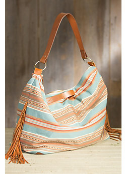 Patricia Wolf Fritch Serape and Deerskin Leather Tote Bag