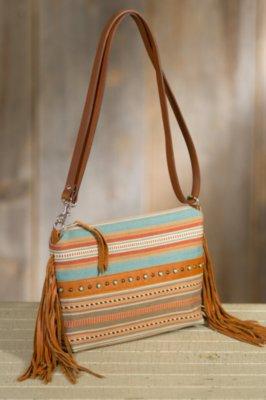 Patricia Wolf Vidor Serape and Leather Clutch Handbag