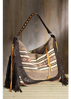 Patricia Wolf Poncho Cotton and Leather Tote Bag