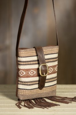 Patricia Wolf Chimayo Cotton and Leather Crossbody Handbag