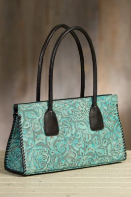 Overland Mesa Tooled Leather Tote Bag