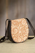 Overland Kingman Tooled Leather Crossbody Handbag