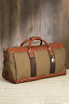 Will Barrel Canvas and Bridle Leather Duffel Bag