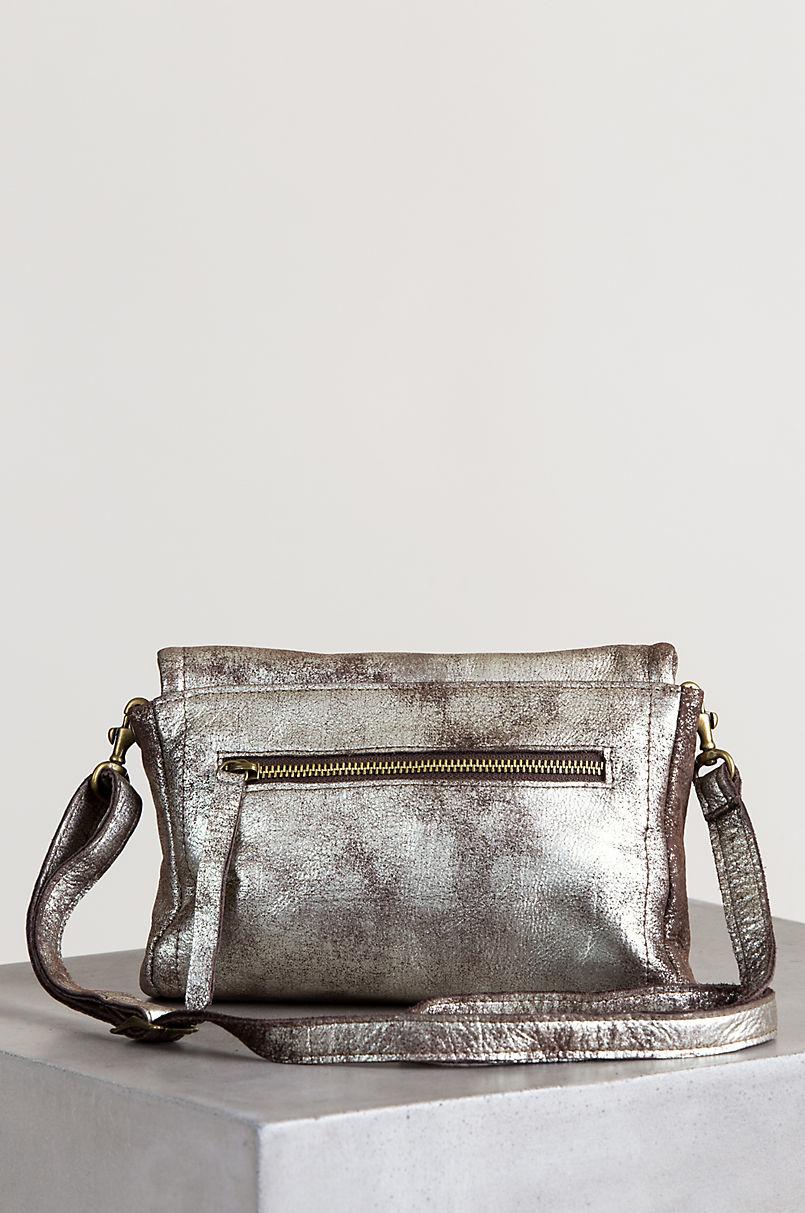 Sonoma Shimmer Distressed Leather Shoulder Bag Clutch