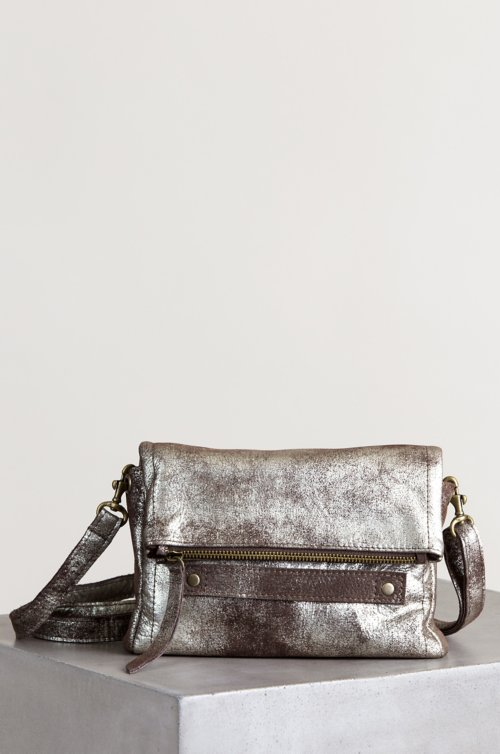 Sonoma Shimmer Distressed Leather Shoulder Bag Clutch