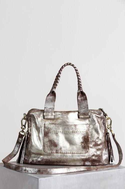 Sonoma Shimmer Distressed Leather Top Handle Shoulder Bag