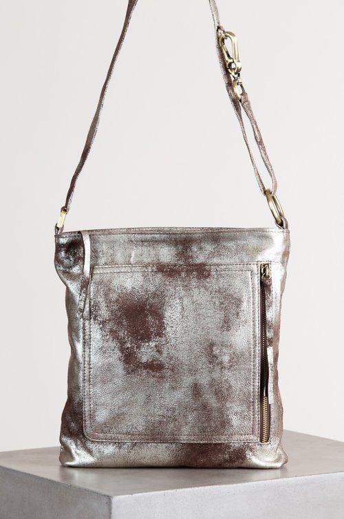 Sonoma Shimmer Distressed Leather Crossbody Shoulder Bag