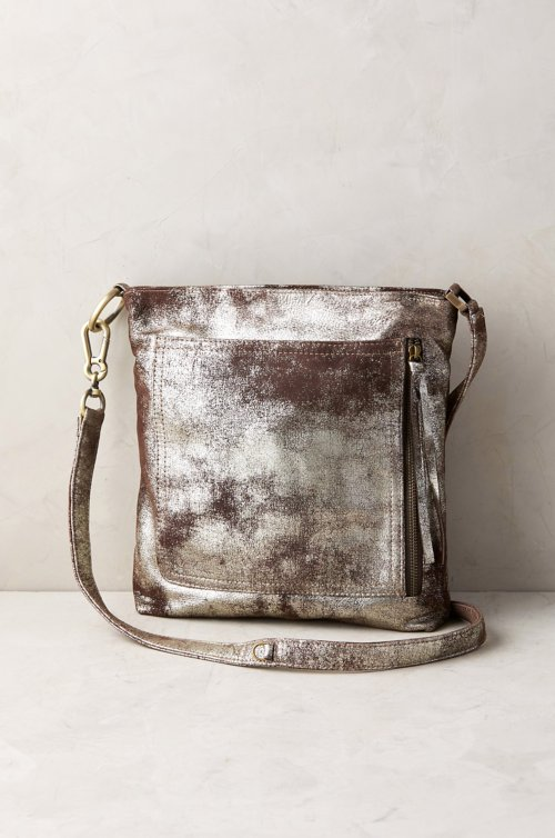 Sonoma Shimmer Distressed Leather Crossbody Shoulder Bag