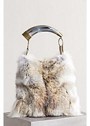 Austin Fur Shoulder Bag with Argentine Cow Horn Handle