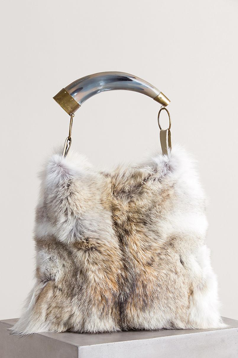 Austin Coyote Fur Shoulder Bag with Argentine Cow Horn Handle