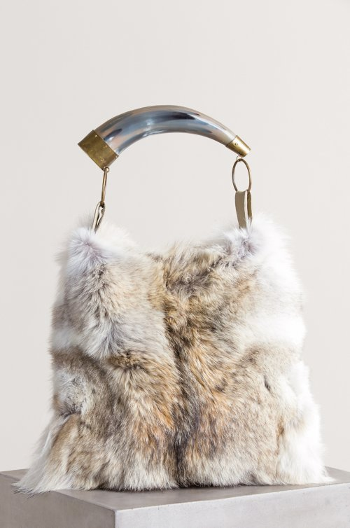 Austin Fur Shoulder Bag with Argentine Cow Horn Handle