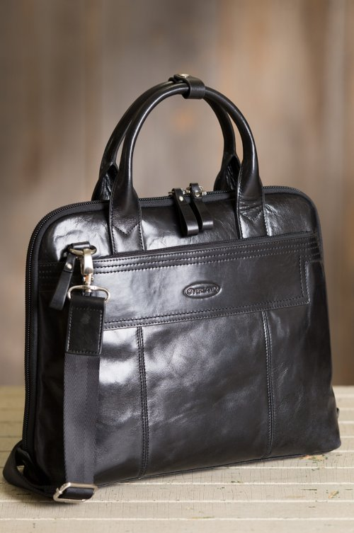 Amber Leather Laptop Briefcase