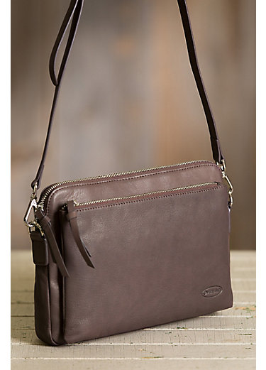 Platina Leather Crossbody Clutch Handbag