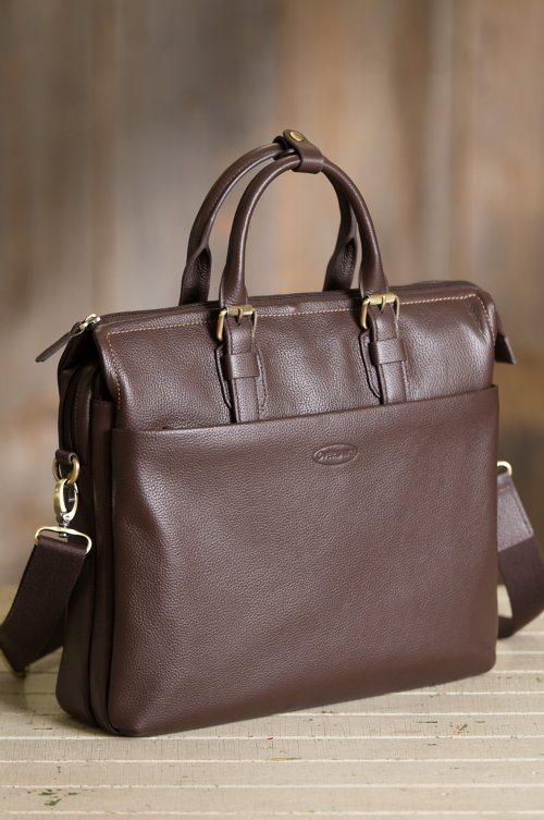 Antigua Pebbled Leather Laptop Briefcase
