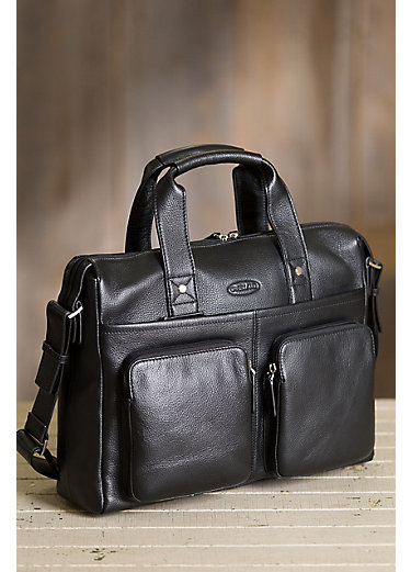 Monty Pebbled Leather Laptop Briefcase