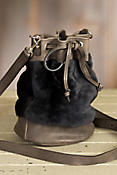 Ann Leather and Shearling Bucket Handbag
