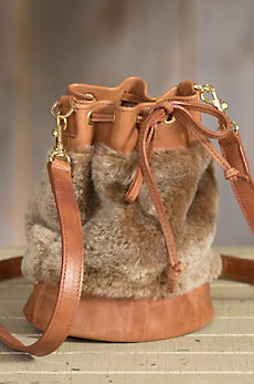 Ann Leather and Shearling Bucket Crossbody Handbag