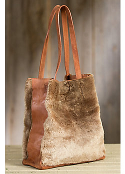 Oini Leather and Shearling Tote Bag