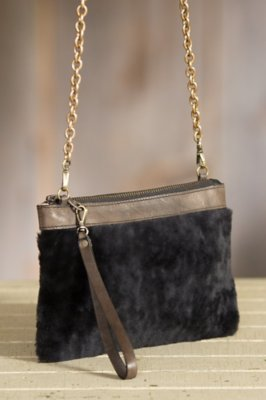 Sharon Leather and Shearling Handbag