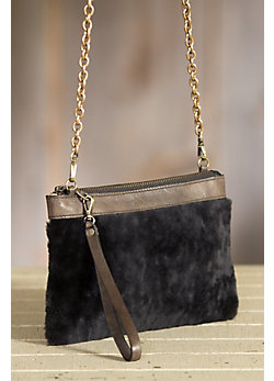 Sharon Leather and Shearling Crossbody Handbag