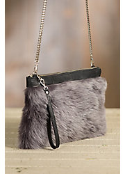Overland Lalassa Sheepskin and Leather Crossbody Clutch Handbag