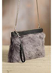 Overland Lalassa Sheepskin and Leather Crossbody Clutch Handbag