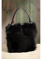 Quito Leather and Beaver Fur Crossbody Handbag