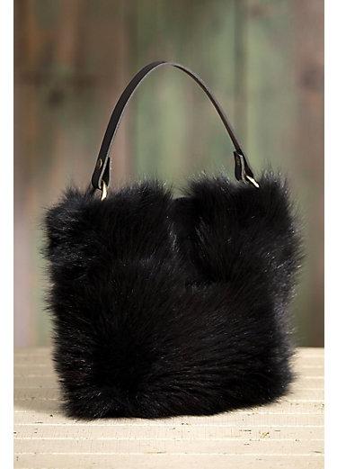 Quito Leather and Beaver Fur Shoulder Crossbody Handbag