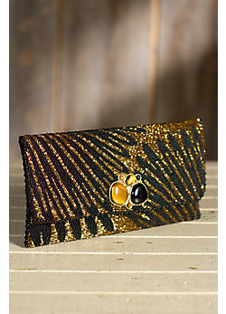 Striking Gold Mary Frances Designer Clutch Handbag